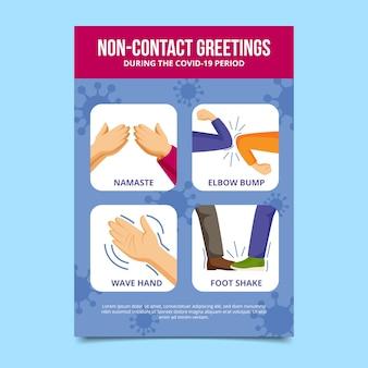 Ejemplos de ilustración de saludos sin contacto