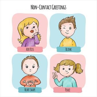 Ejemplos de saludos sin contacto