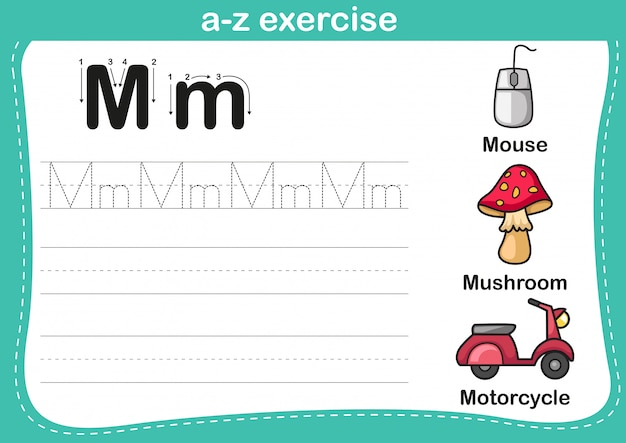 Ejercicio de alfabeto az con ilustración de vocabulario de dibujos animados