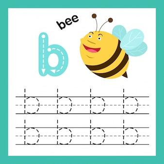 Ejercicio de alfabeto b con ilustración de vocabulario de dibujos animados, vector