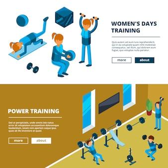 Ejercicio deportivo en el gimnasio. banners horizontales con ilustraciones de imágenes isométricas de entrenamiento de personas fitness