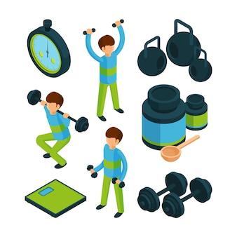 Ejercicio deportivo isométrico, equipo para actividad deportiva gente sana colección 3d