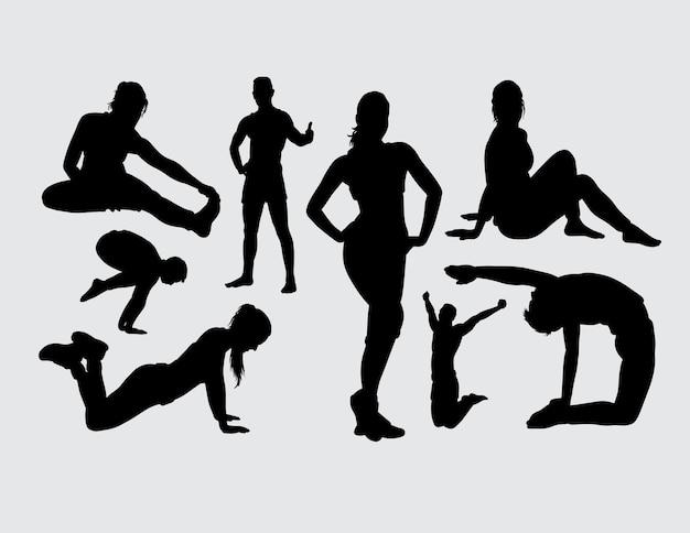 Ejercicio deportivo silueta masculina y femenina.
