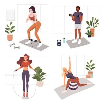 Ejercicio de ejercicios en casa de mujer y hombre en la ilustración del concepto de hogar
