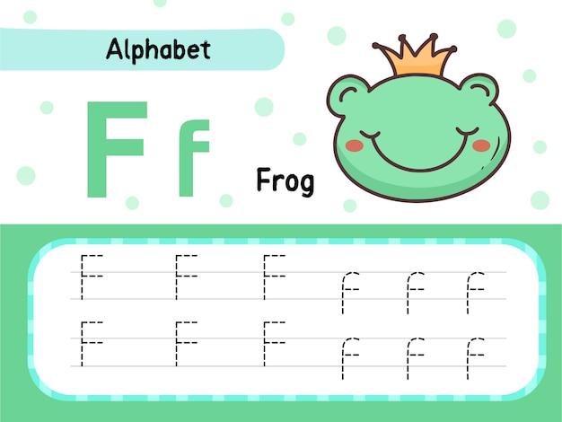 Ejercicio de hoja de rastreo del alfabeto de la letra f y la rana para niños que aprenden ilustración de dibujos animados