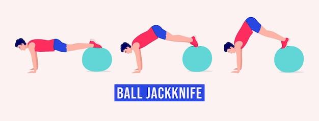 Ejercicio de navaja de bola entrenamiento de hombres fitness aeróbico y ejercicios