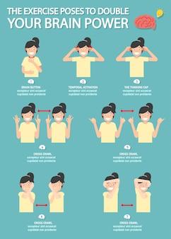 El ejercicio posa para duplicar tu infografía de poder cerebral