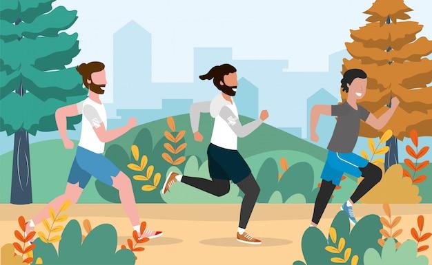 Ejercicio de salud masculina y actividad de carrera