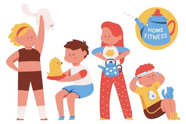 Ejercicios caseros de fitness y deporte con ilustración de concepto de dibujos animados de mascotas aislado en un fondo blanco.