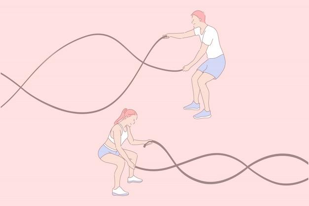 Ejercicios deportivos, entrenamiento funcional, concepto de estilo de vida activo.
