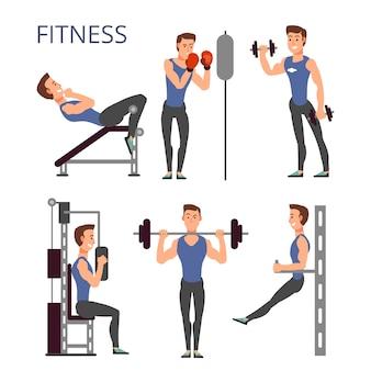 Ejercicios de gimnasio, vector de entrenamiento de bomba de cuerpo con personajes de dibujos animados deporte hombre. gente de la aptitud