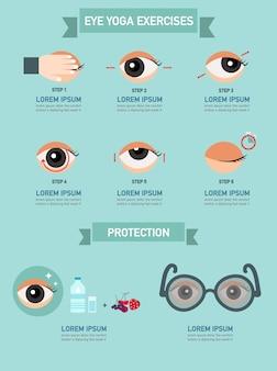 Ejercicios para ojos, infografía.