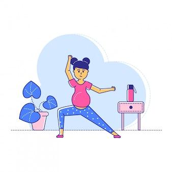 Ejercicios de yoga durante el último período de embarazo, entrenamiento de deporte de entrenamiento de carácter de mujer de línea en blanco, ilustración.