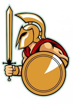 Ejército espartano con escudo.