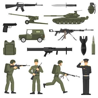 Ejército militar color caqui iconos de colección