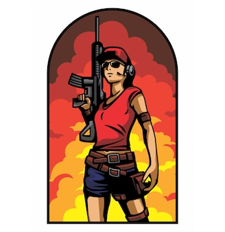 Ejército de mujer en el fondo de la explosión