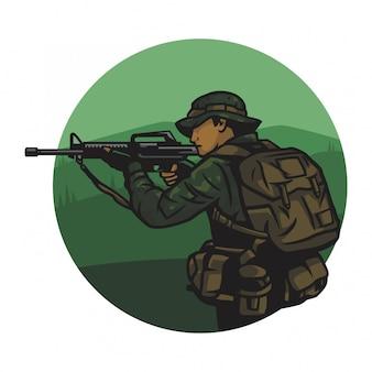 Ejército en un vector de selva