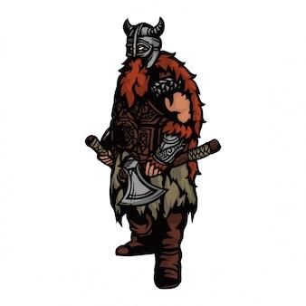 Ejército vikingo con hacha y casco y listo para la guerra.