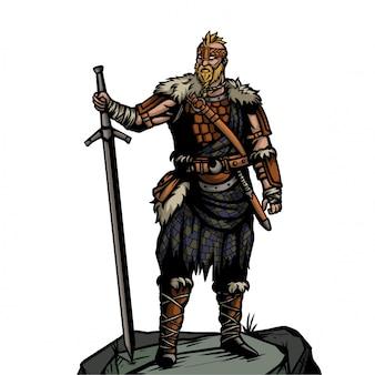 Ejército vikingo con larga espada de pie sobre la piedra.