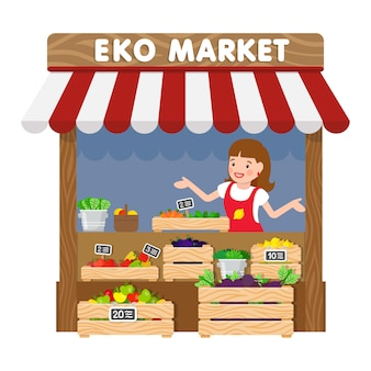 Eko market, ilustración de vector plano de quiosco de supermercado