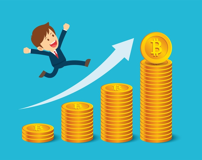 El hombre de negocios está contento con los precios de bitcoin. concepto de mercado de criptomonedas.