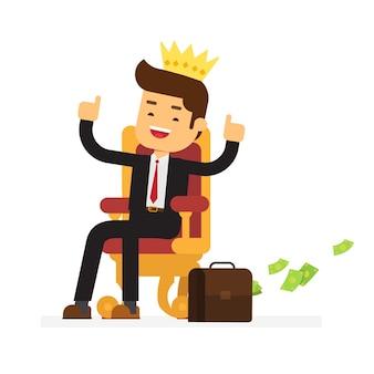 El hombre de negocios está sentado en el trono como un rey