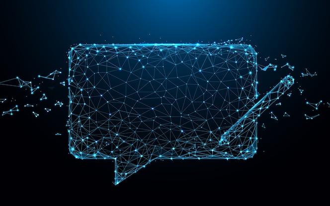 El icono de mensajes de chat forma líneas y partículas