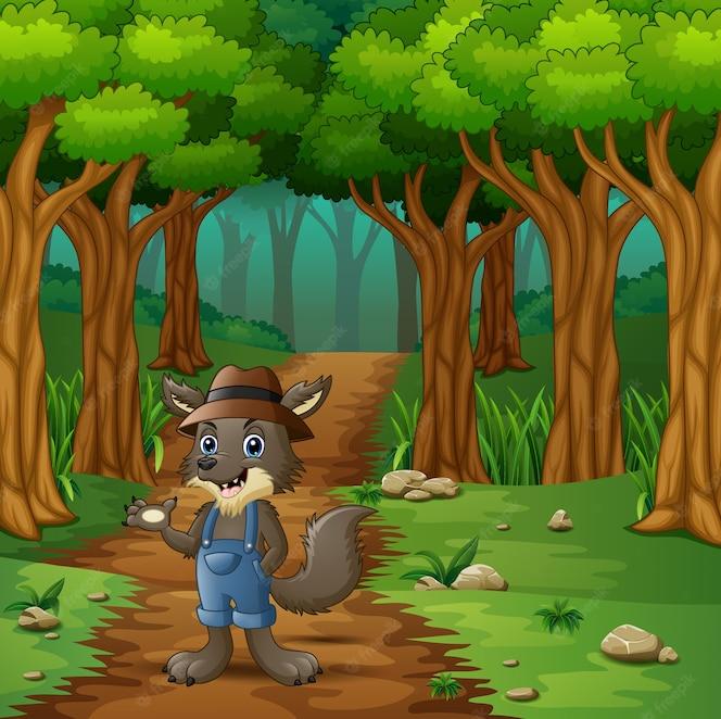El lobo caminando en el camino de las colinas del bosque