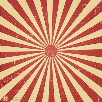 El sol de levantamiento rojo del vintage o el rayo del sol, sol estallaron diseño retro del fondo