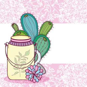 El tarro de mason florece la tarjeta colorida del pote sobre fondo púrpura