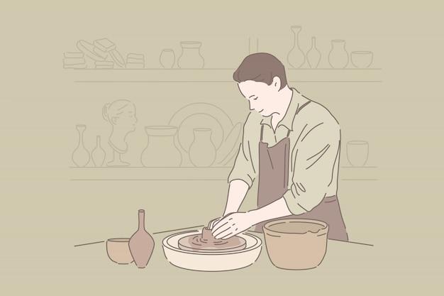 Elaboración de loza, pasatiempo artesanal, concepto de cerámica hecha a mano