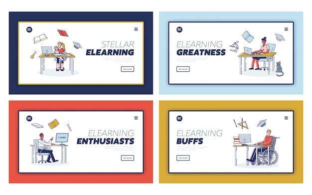 Elearning personajes del examen en línea que se educan a sí mismos