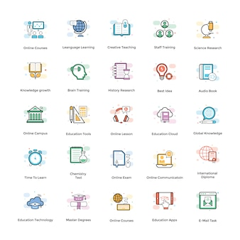 Elearning vector icons set
