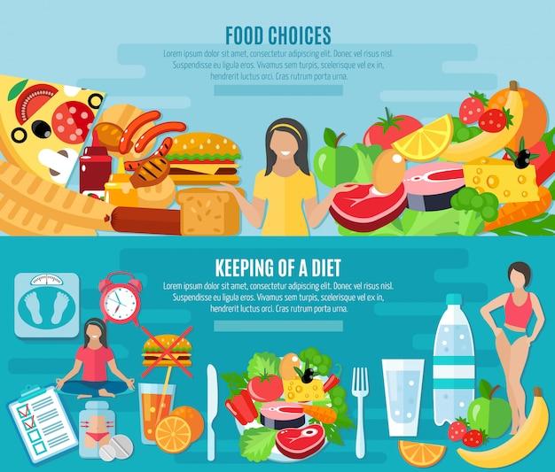 Elección de alimentos saludables para mantener la dieta baja en grasas 2 pancartas planas conjunto abstracto