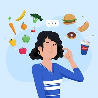 Elección entre alimentos saludables o no saludables ilustrados