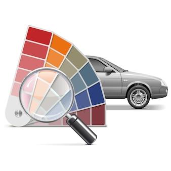 Elección de color vectorial para coche aislado sobre fondo blanco.