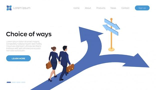 Elección de formas de página de destino. un empresario y una empresaria con un maletín en la mano está caminando por el camino hacia una encrucijada.