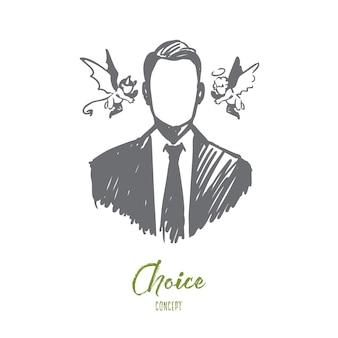 Elección, intuición, empresario, duda, concepto de oposición. persona dibujada mano con ángel y demonio cerca de su boceto de concepto de cabeza.