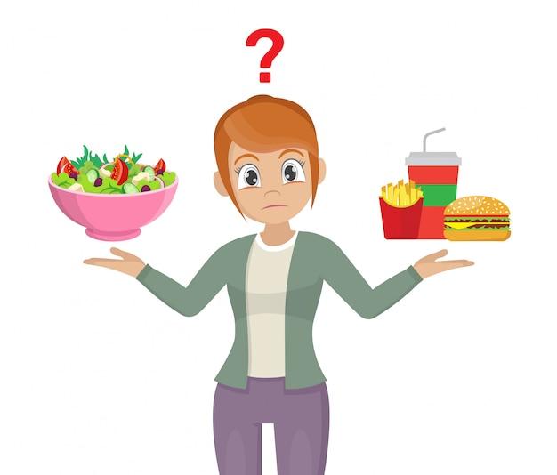 La elección de las mujeres. comida chatarra o comida sana.