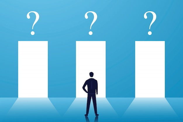 Elección de negocios o concepto de decisión, el empresario confunde y piensa mucho para elegir la puerta correcta