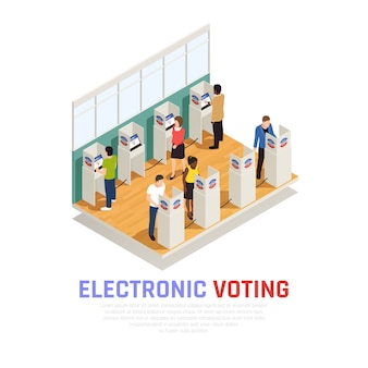 Elecciones y composición isométrica de votación con símbolos electorales electrónicos.