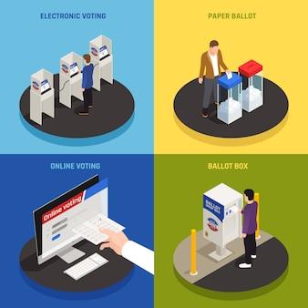 Elecciones e iconos de concepto de votación con símbolos de votación en línea isométrica aislado
