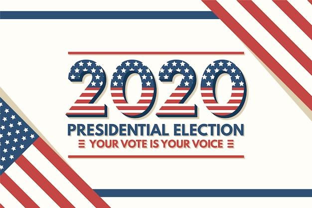 Elecciones presidenciales de 2020 en el fondo de estados unidos con bandera