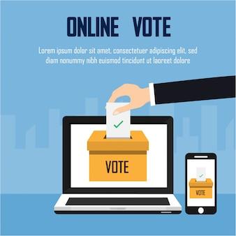 Elecciones presidenciales. ilustración del concepto de voto en línea