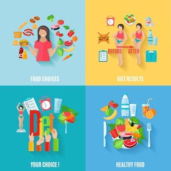 Elecciones saludables antes y después de resultados de dieta 4 iconos planos cuadrados composición banner