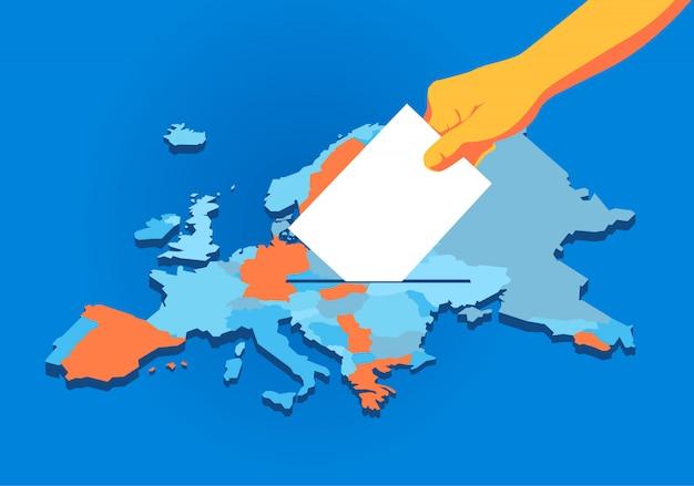 Elecciones de la unión europea, mano con papeleta, fondo de mapa de europa