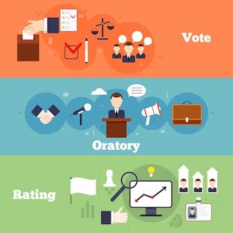 Elecciones y votación plana banner conjunto con oratoria calificación aislar ilustración vectorial