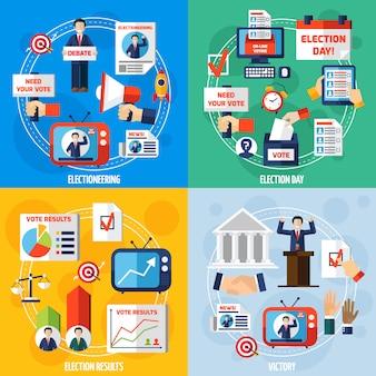 Elecciones y votación plana concepto de diseño