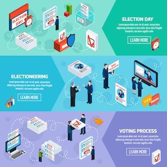 Elecciones y votaciones isométricas de banners