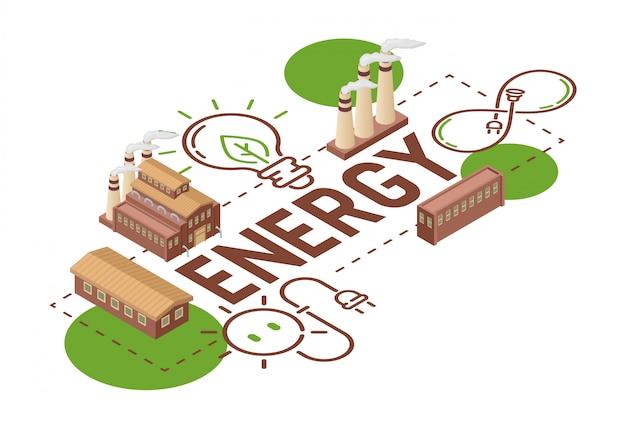 Electricidad tierra energía bombillas eléctricas energía de paneles solares ilustración telón de fondo